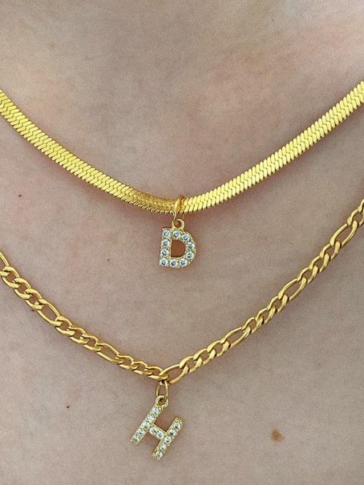 LI MUMU Titanium Steel Cubic Zirconia Letter Vintage Necklace