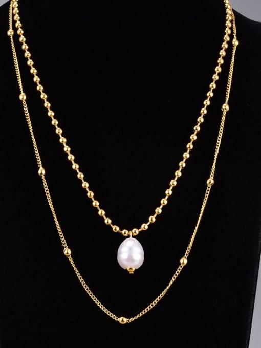 A TEEM Titanium Steel Imitation Pearl Round Vintage Multi Strand Necklace 0