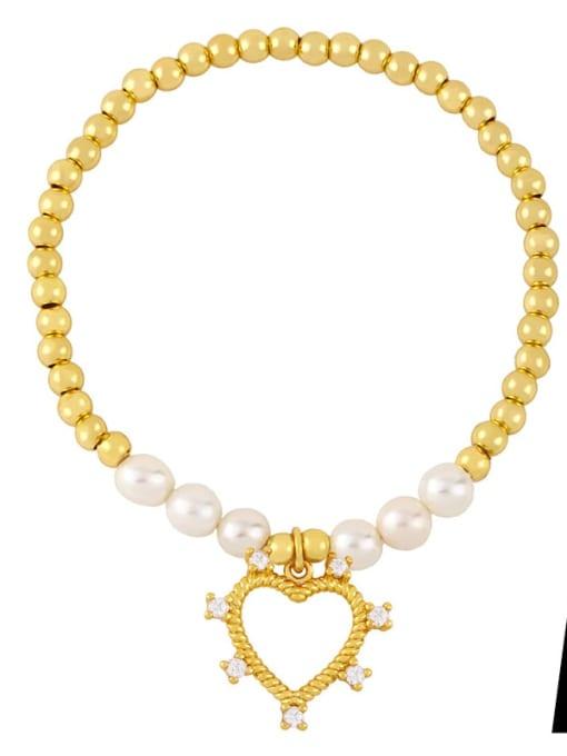 A Brass Imitation Pearl Heart Vintage Beaded Bracelet