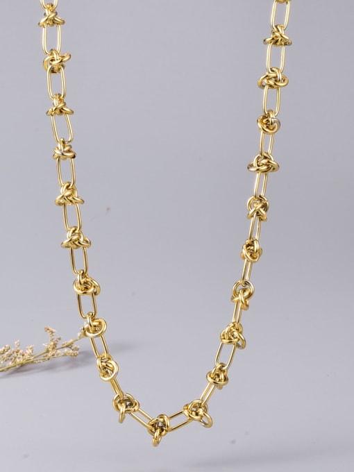 A TEEM Titanium Steel Hollow Geometric Vintage Necklace 1