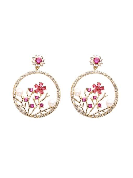 Luxu Brass Cubic Zirconia Flower Trend Drop Earring 2