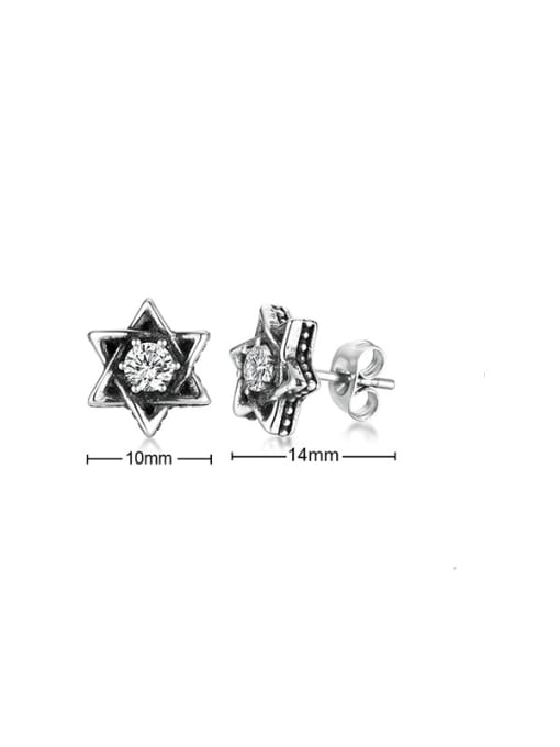 CONG Stainless steel Cubic Zirconia Flower Vintage Stud Earring 2