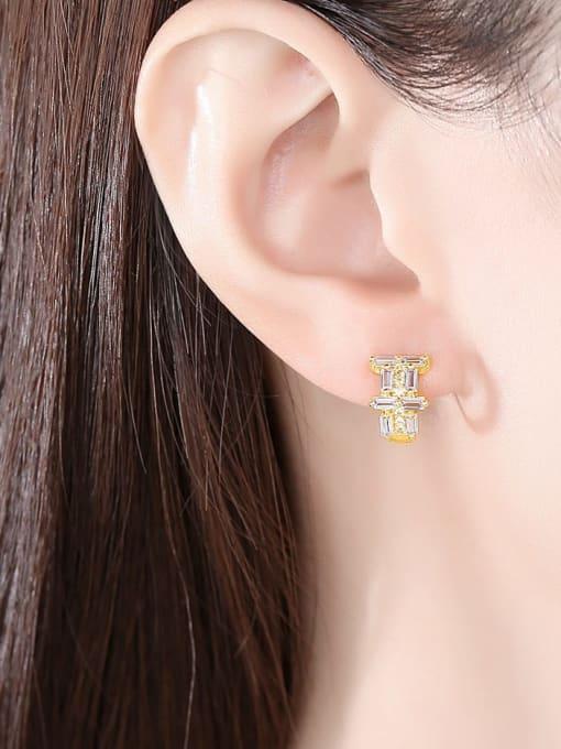 BLING SU Brass Cubic Zirconia Geometric Dainty Huggie Earring 1