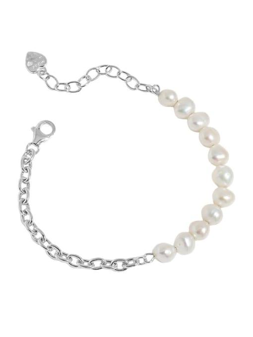 silver 925 Sterling Silver Imitation Pearl Geometric Vintage Link Bracelet
