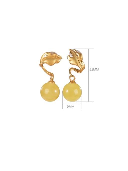 DEER 925 Sterling Silver Amber Leaf Vintage Drop Earring 2