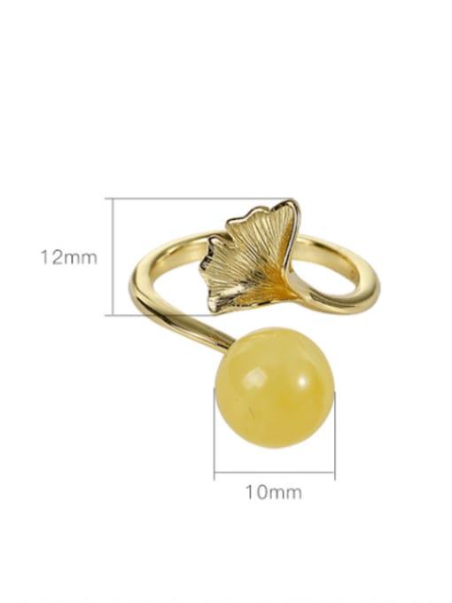 DEER 925 Sterling Silver Amber Leaf Vintage Band Ring 3