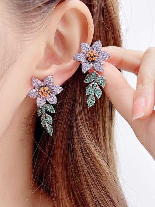 Luxu Brass Cubic Zirconia Flower Statement Cluster Earring 1