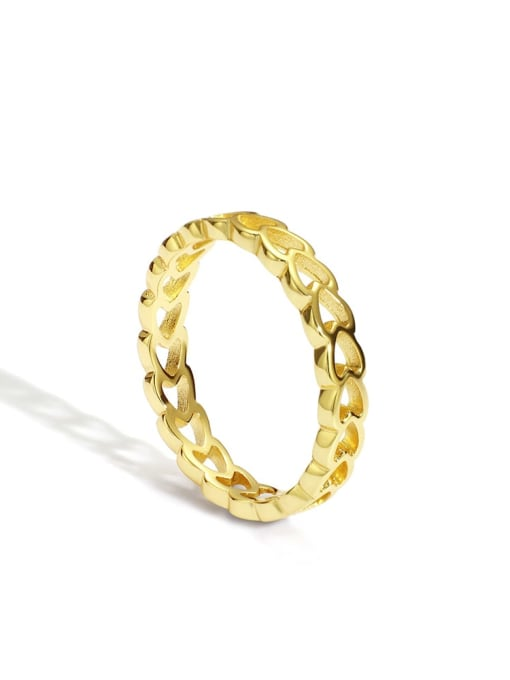 Gold Heart Ring Brass Hollow Heart Minimalist Band Ring