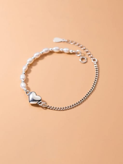 Rosh 925 Sterling Silver Freshwater Pearl Heart Minimalist Link Bracelet 0