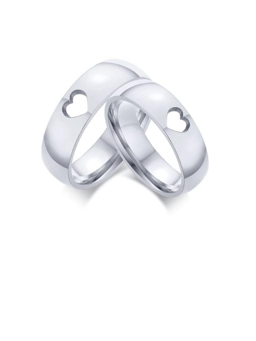 CONG Stainless steel Heart Minimalist Couple Ring 0