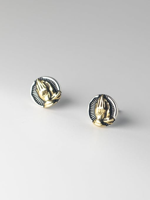 Rosh 925 Sterling Silver Irregular Vintage Stud Earring