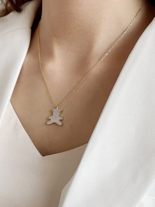 Boomer Cat 925 Sterling Silver Shell Bear Minimalist Necklace 1