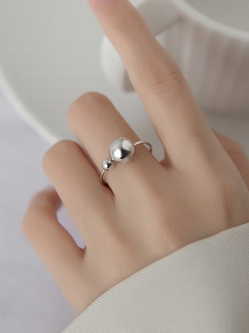 Rosh 925 Sterling Silver Bead Round Minimalist Band Ring 1