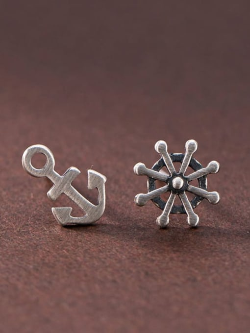 DEER 925 Sterling Silver Asymmetry Anchor Vintage Stud Earring 0
