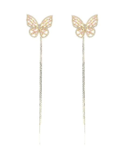 Luxu Brass Cubic Zirconia Butterfly Trend Threader Earring 4