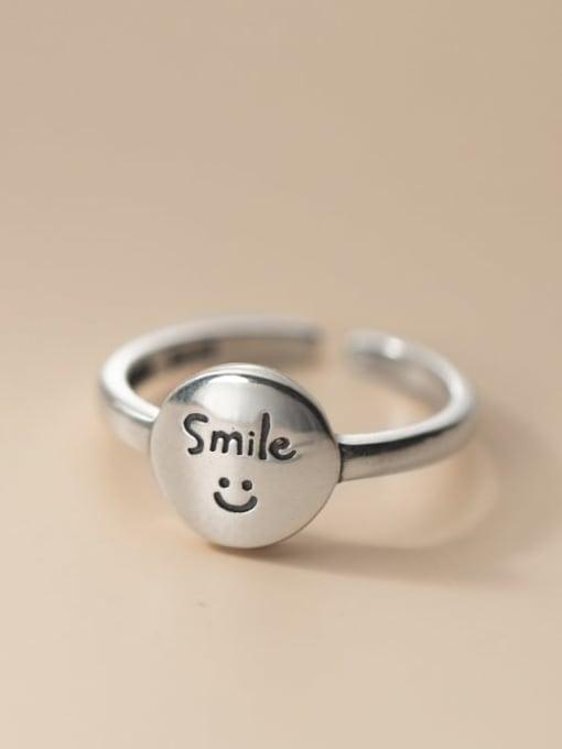 Rosh 925 Sterling Silver Smiley Vintage Band Ring 0