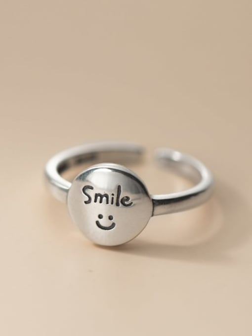 Rosh 925 Sterling Silver Smiley Vintage Band Ring