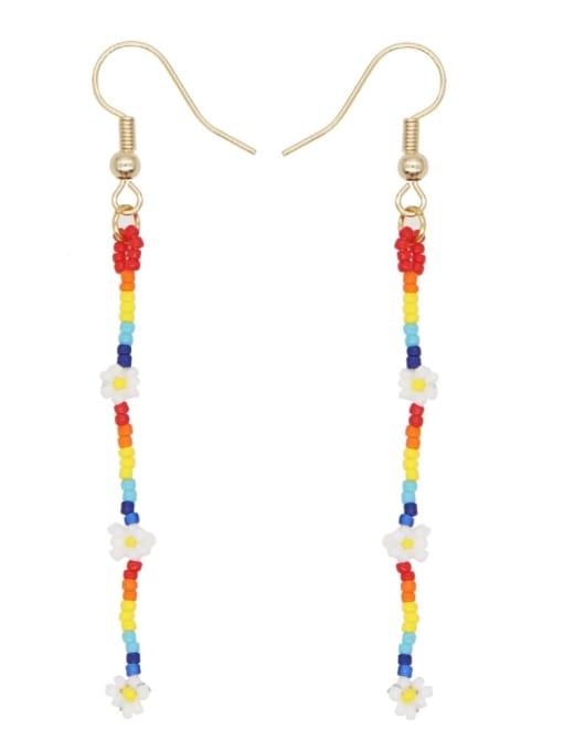 Roxi Stainless steel MGB Bead Flower Multi Color Tassel Bohemia Hook Earring 0