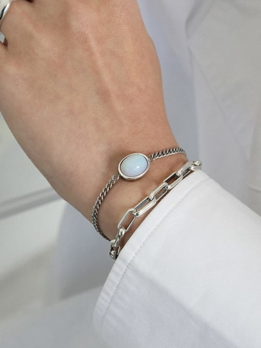 DAKA 925 Sterling Silver Cats Eye Geometric Vintage Link Bracelet 2