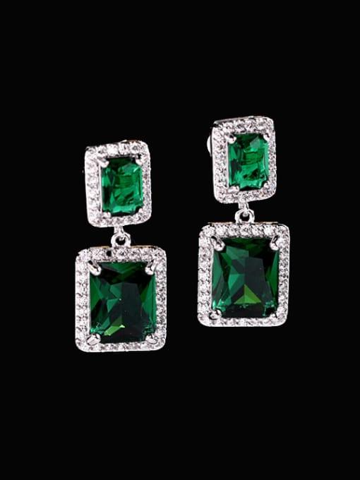 Green Brass Cubic Zirconia Geometric Luxury Drop Earring
