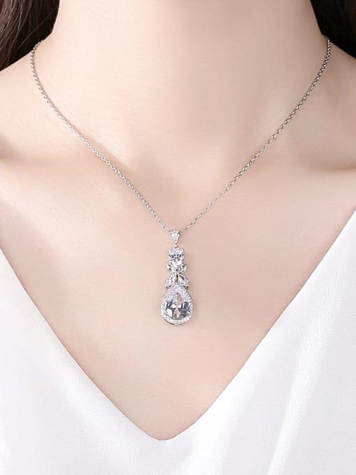 BLING SU Brass Cubic Zirconia Water Drop Dainty Necklace 1