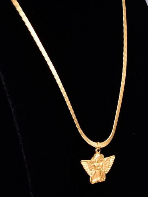 A TEEM Titanium Steel  Vintage Wing Pendant Necklace 0