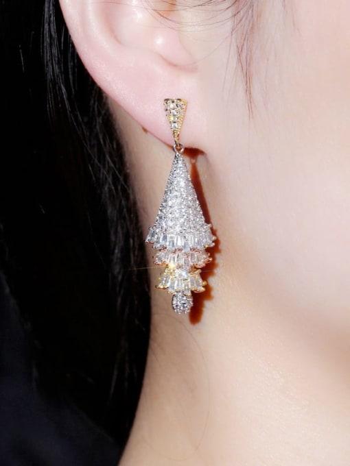 L.WIN Brass Cubic Zirconia Tree Luxury Drop Earring 1