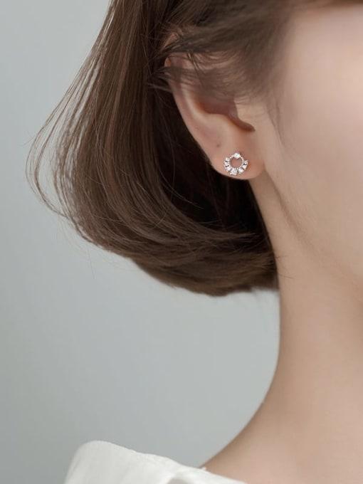 Rosh 925 Sterling Silver Cubic Zirconia Geometric Dainty Stud Earring 3