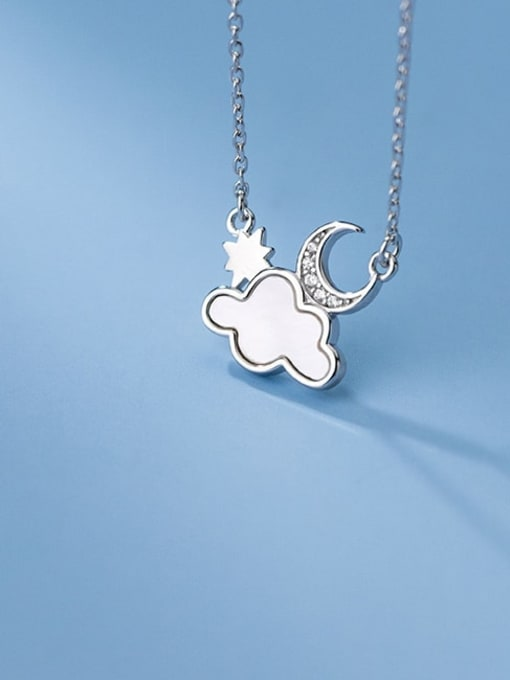 Rosh 925 Sterling Silver Enamel Cloud Minimalist Necklace