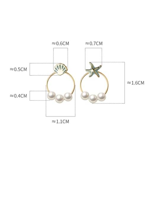 Rosh 925 Sterling Silver Imitation Pearl Enamel Star Vintage Stud Earring 3