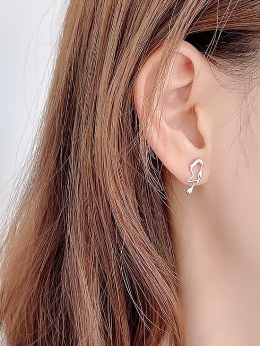 Boomer Cat 925 Sterling Silver Asymmetry Irregular Vintage Stud Earring 2
