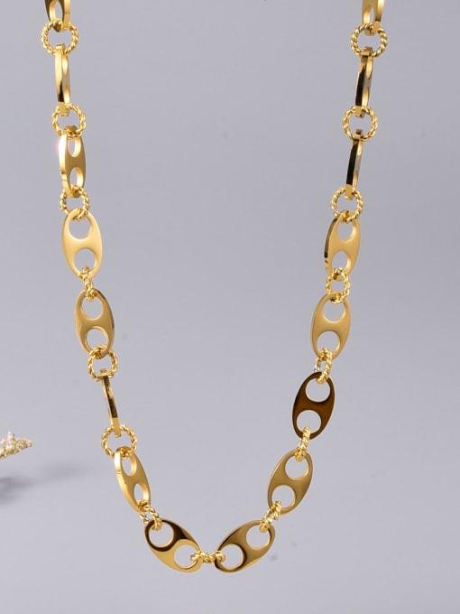 A TEEM Titanium Steel Hollow Geometric Vintage Necklace 0