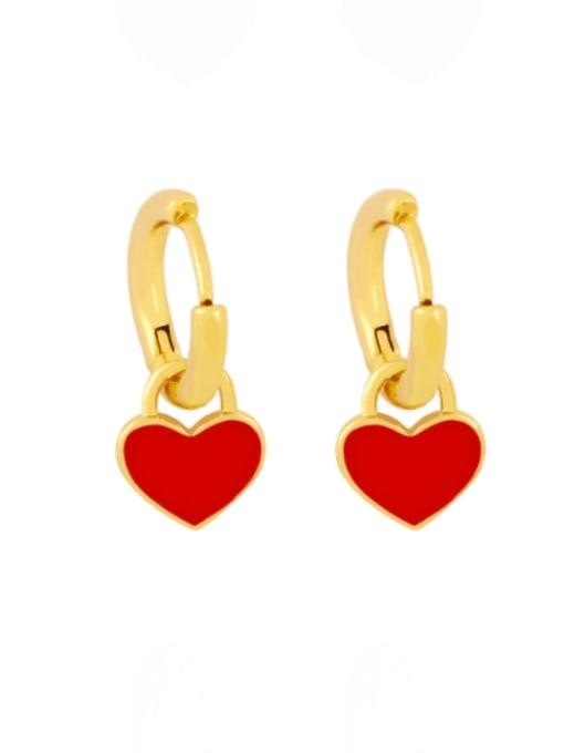red Brass Enamel Heart Minimalist Huggie Earring
