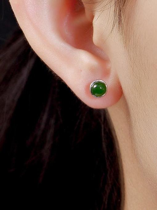 DEER 925 Sterling Silver Jade Round Cute Stud Earring 1