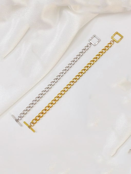 Open Sky Titanium Steel Hollow Geometric Chain Vintage Link Bracelet 0