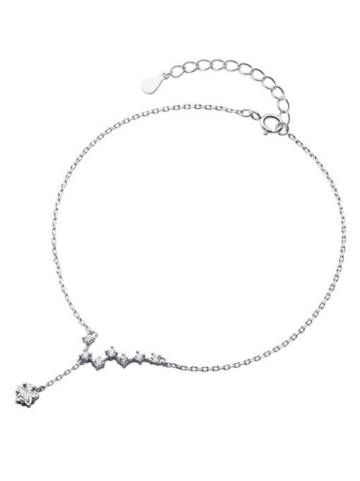 Rosh 925 Sterling Silver Cubic Zirconia Star Minimalist  Anklet 2