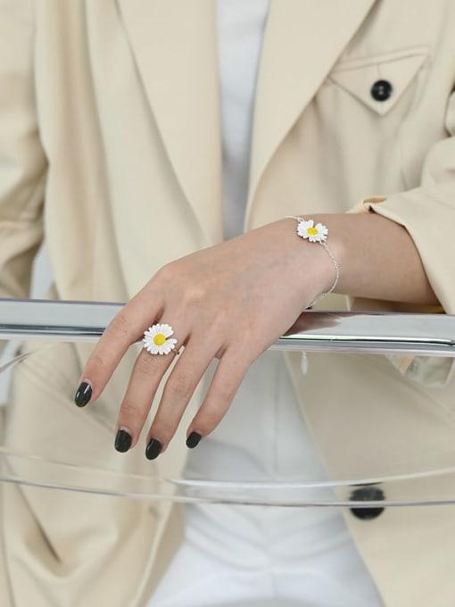 DAKA 925 Sterling Silver Enamel Flower Minimalist Band Ring 2