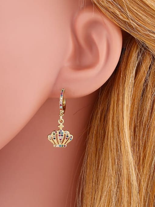 CC Brass Cubic Zirconia Crown Vintage Huggie Earring 1