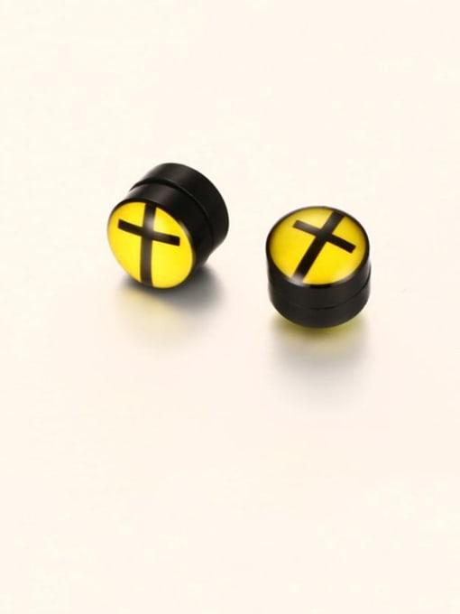 Cross ear clip Titanium Steel Enamel Geometric Hip Hop Stud Earring