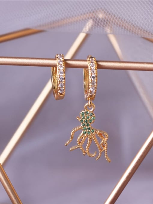 E0792 Brass Cubic Zirconia Octopus Vintage Huggie Earring