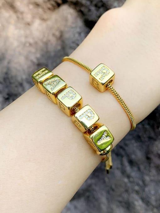 CC Brass Cubic Zirconia square Letter Minimalist Adjustable Bracelet 2