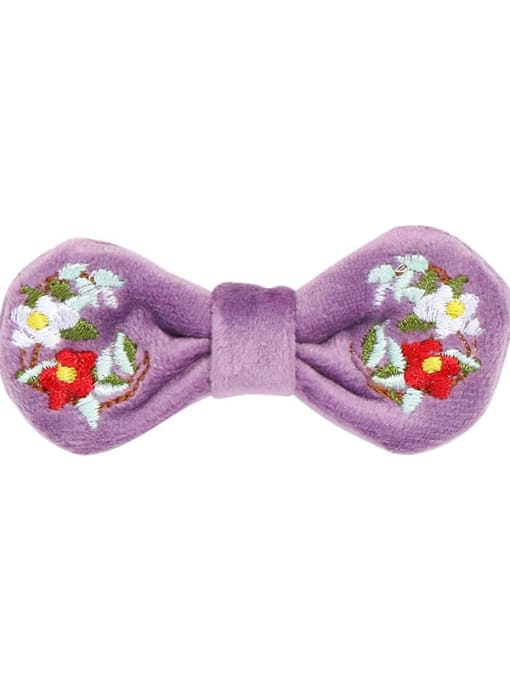 5 orchid purple velvet and peony hairpin Alloy  Fabric Cute Bowknot Hair Barrette