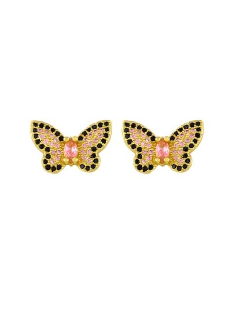 butterfly Brass Cubic Zirconia Heart Vintage Stud Earring