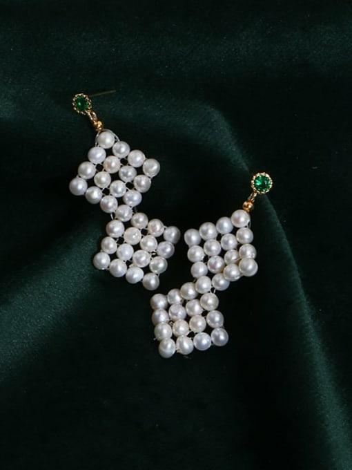 RAIN Brass Freshwater Pearl Geometric Ethnic Drop Earring 2