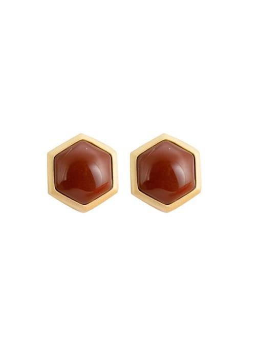 DEER 925 Sterling Silver Carnelian Geometric Vintage Stud Earring