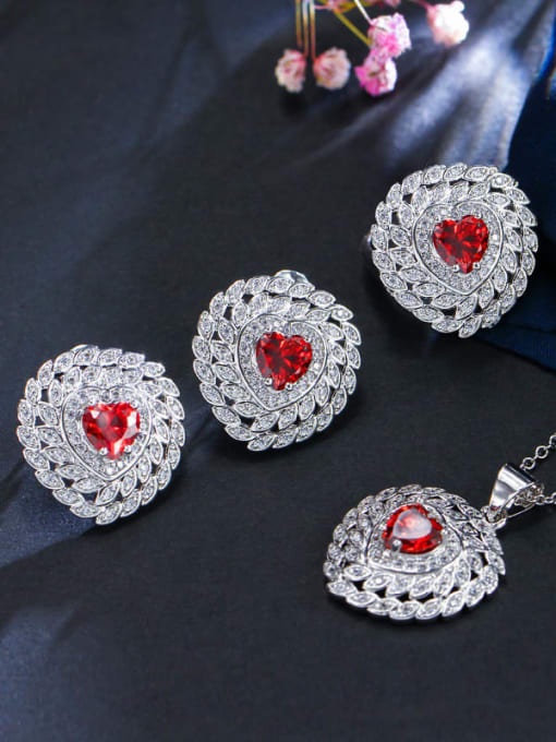 Red ring size 8 Brass Cubic Zirconia Luxury Heart Earring Ring and Necklace Set
