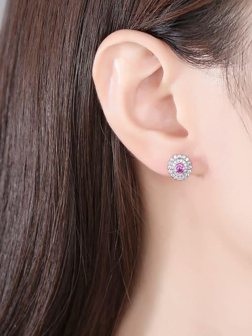 CCUI Brass Cubic Zirconia Geometric Cute Stud Earring 1