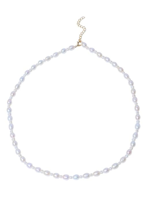 RAIN Brass Freshwater Pearl Round Minimalist Necklace