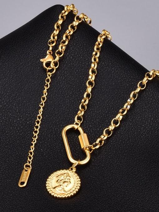 A TEEM Titanium Steel Round Vintage Necklace 0