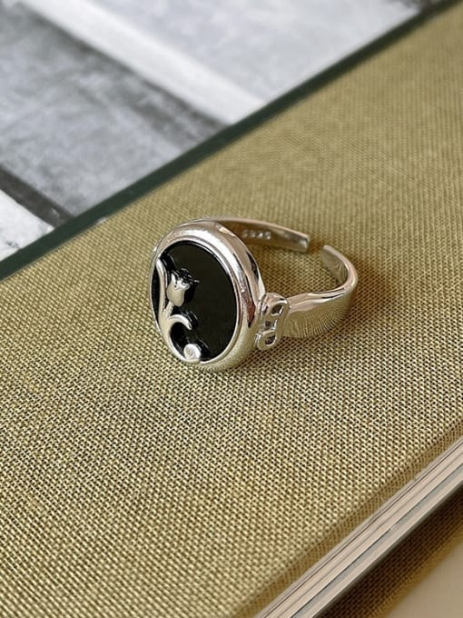 Boomer Cat 925 Sterling Silver Carnelian Round Vintage Band Ring 1